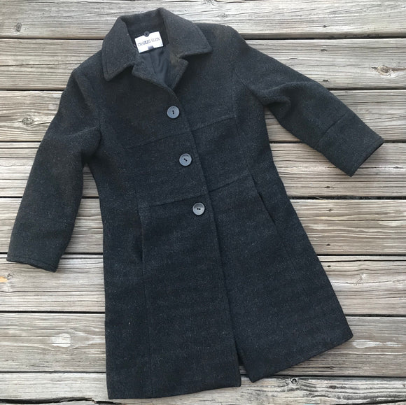 CHARLES KLEIN Women's Size 4 100% Wool Charcoal Black Lined Winter Coat