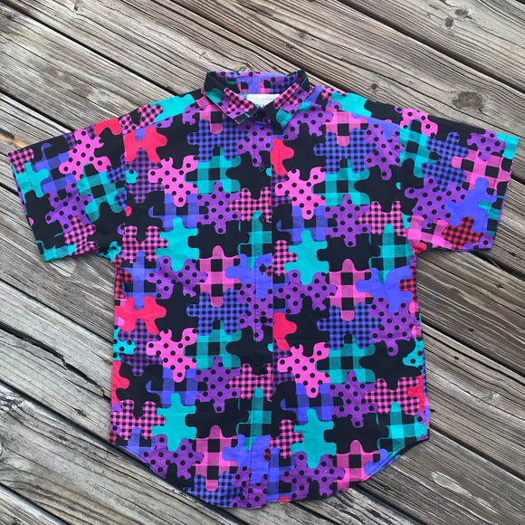 CASEY & MAX VINTAGE 1980's Women's Size Medium Puzzle Print Button Down Shirt