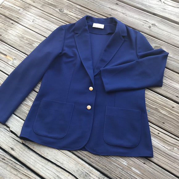 QUEEN CASUALS Vintage Navy Blue Blazer NO SIZE TAG Approximate Size Large