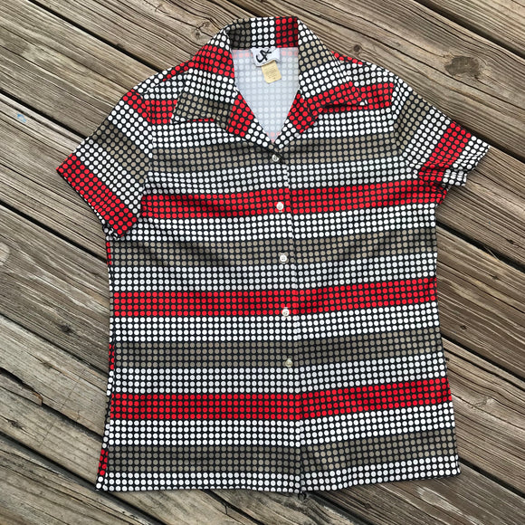 JON ALBERT VINTAGE Women's Size 16 Mid Century Retro Polka Dot Button Down Shirt