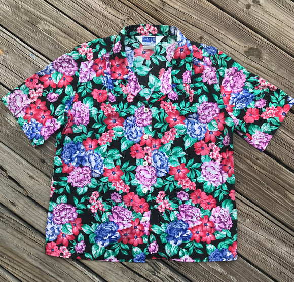 CAPE COD Vintage 1980's Women's Size 14 Floral Button Down Shirt
