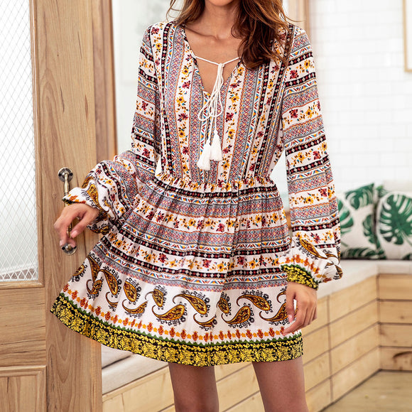 Women's Bohemian Floral Paisley V-neck Print Drawstring Long-Sleeve Dress, Size S-XL