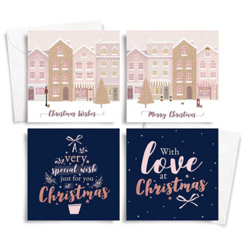 Rose Gold Glitter Christmas Cards 10 Pack