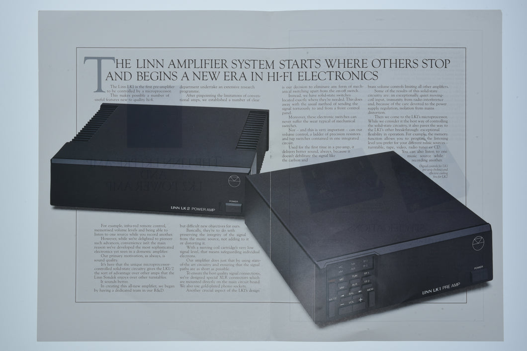Linn LK1 & 2 Amplifier Brochure (Preowned, Ref 00064)