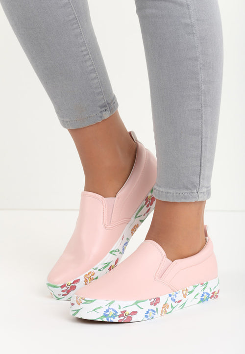Anne Floral Sneaker - Pink, White