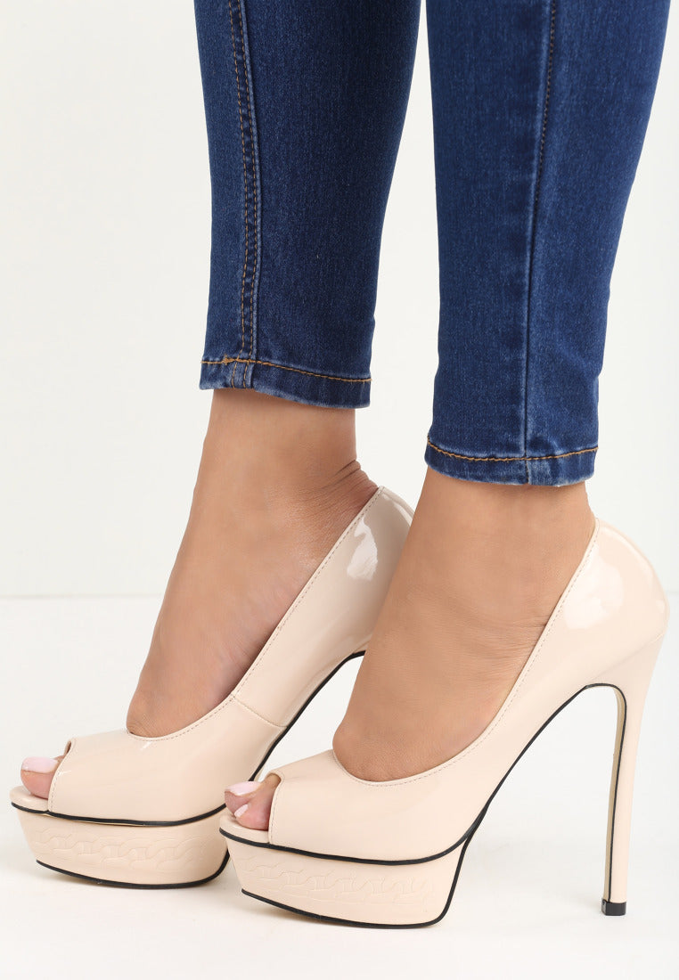 LISA High Heel Platform Pump - Beige