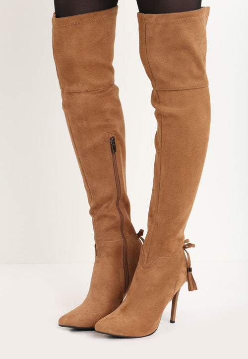 Amy Over The Knee Boot - Beige, Grey