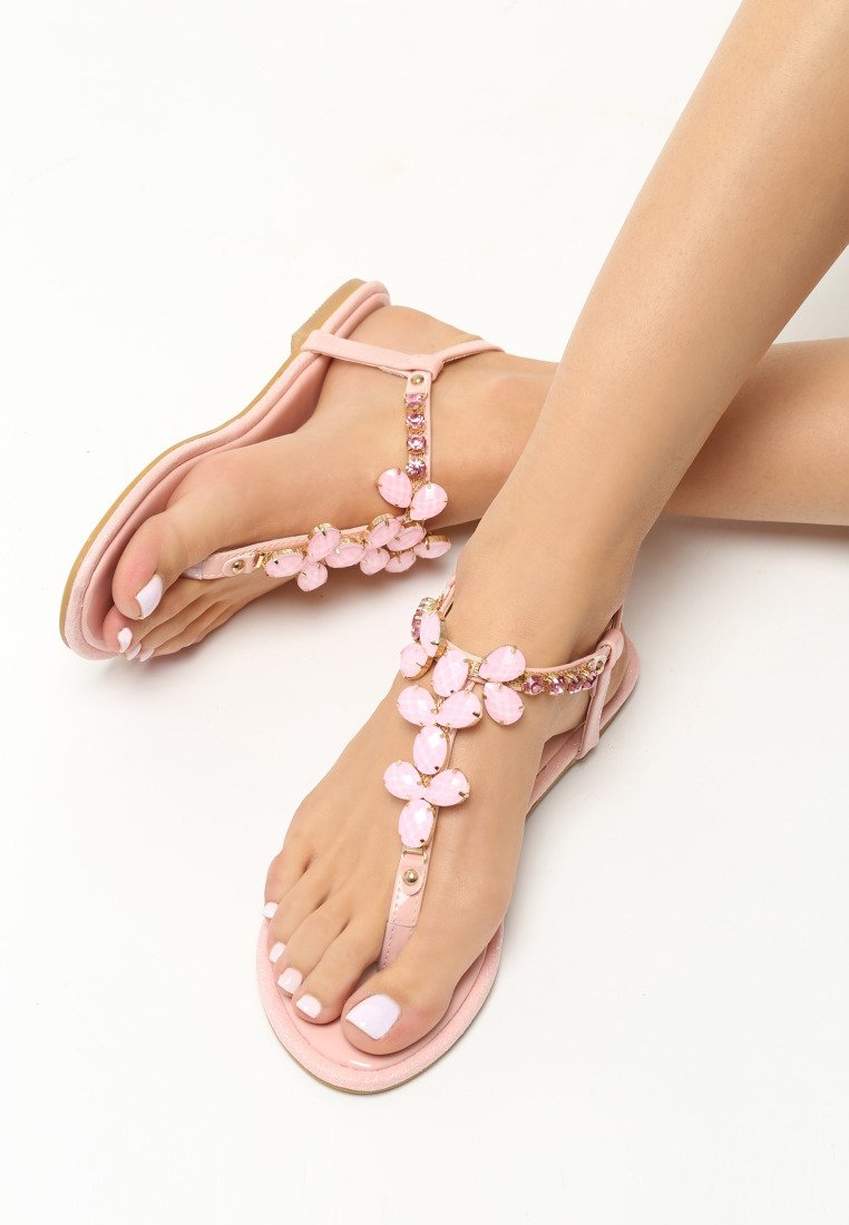 Beverly Flat Sandal - Black, Pink