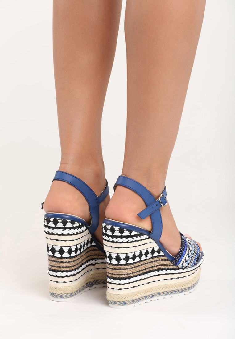 Rose Wedge - Beige, Black, Blue