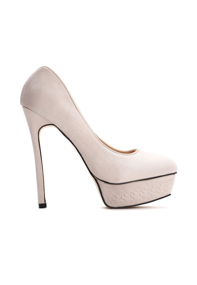 MARGARET High Heel Platform Pump - Beige