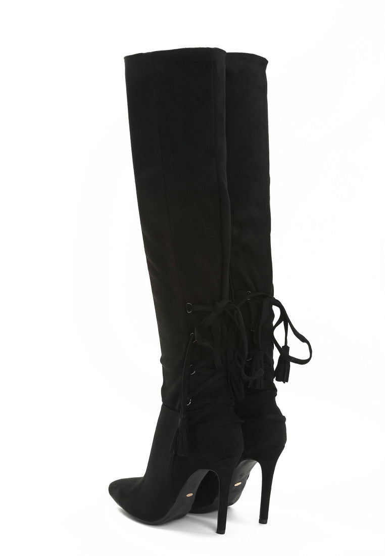LINDA Over The Knee Boot - Black, Grey