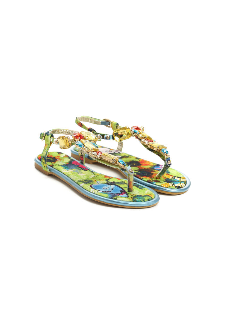 Jane Flat Sandal - Blue, Red
