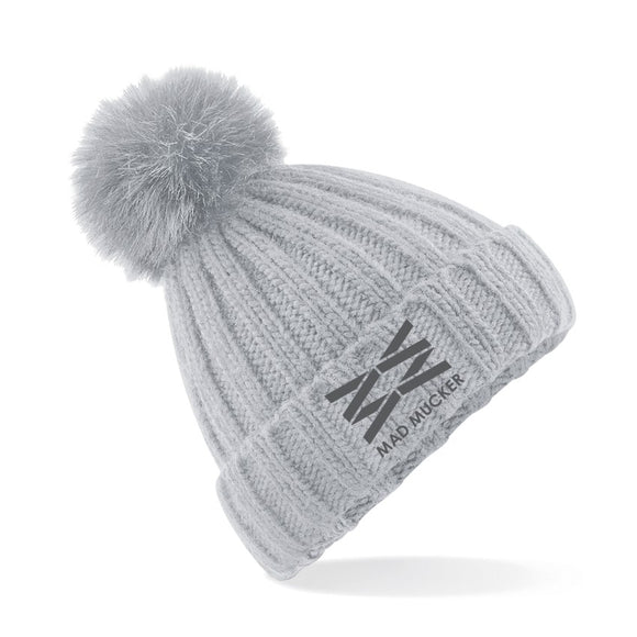Betsy Bobble Hat - Ice Grey