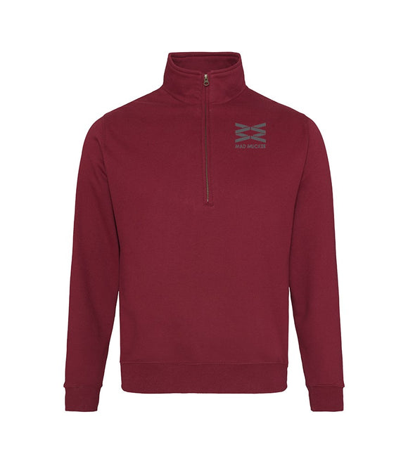 Arias Mid Weight 1/4 Zip Neck Sweat - Mulberry