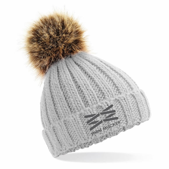 Kids Barney Bobble Hat - Grey