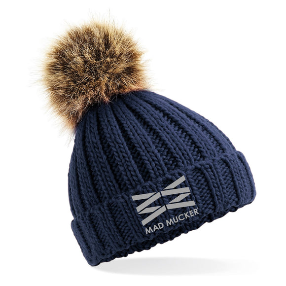 Kids Barney Bobble Hat - Navy