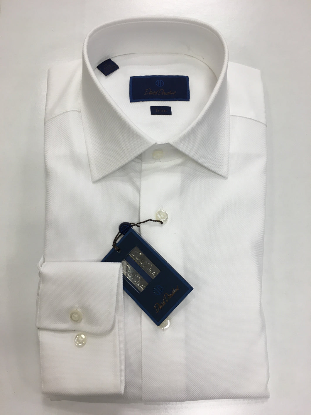 David Donahue White-Royal Oxford Dress Shirt Trim Fit