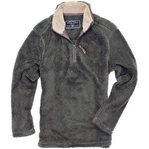 TRUE GRIT Pebble Pile 1/2 Zip Pullover-Olive Green