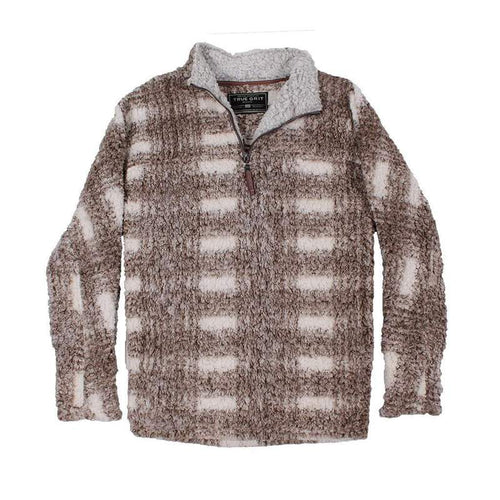 TRUE GRIT Quarter Zip Frosty Tipped Big Plaid Pullover