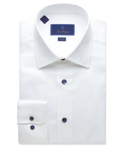 David Donahue Super Fine Twill Dress Shirt Slim Fit | White