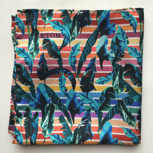 Eton Palms and Stripes Pocket Square | Multi Color