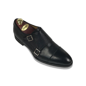 Di Bianco Scotch Grain Double Monk - Black