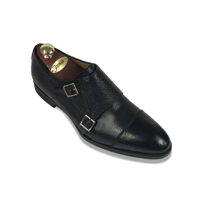 Di Bianco Scotch Grain Double Monk | Black