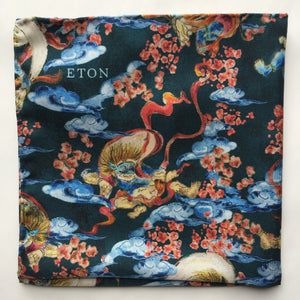 Eton Clouds and Dragons Pocket Square | Navy