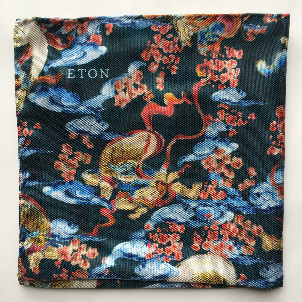 Eton Clouds and Dragons Pocket Square