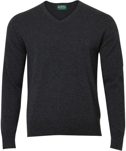 Alan Paine Haddington Cashmere V-Neck - Charcoal