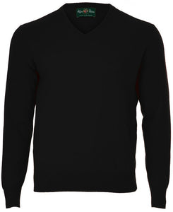 Alan Paine Haddington Cashmere Vee Neck Jumper-Black