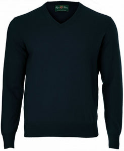 Alan Paine Haddington Cashmere V-Neck Jumper-Dark Navy