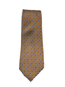 Canali- Gold Tie with Blue Diamond Box Pattern