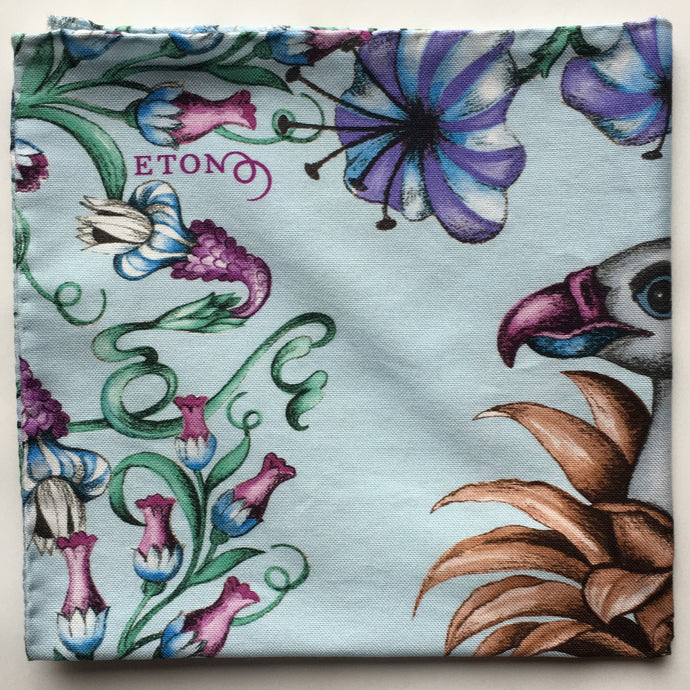 Eton Bird of Paradise  Pocket Square | Light Blue