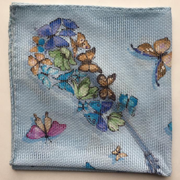 Eton Butterflies Grenadine Woven Pocket Square | Blue
