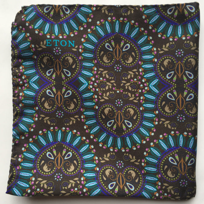 Eton Teal Floral/Medallion Pocket Square