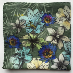 Eton Green Pocket Square with Florals