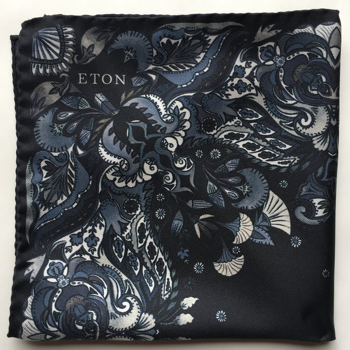 Eton Navy Floral Print Pocket Square