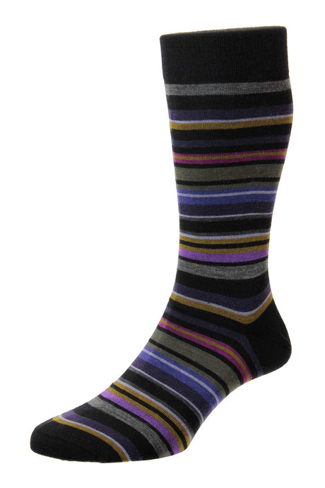 Pantherella All Over Stripe Sock - Black