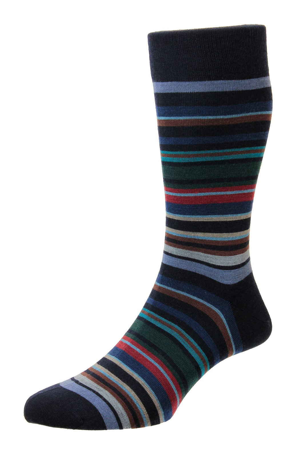 Pantherella All Over Stripe Sock - Navy