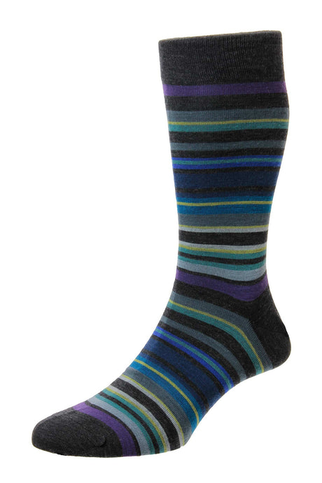 Pantherella All Over Stripe Sock - Charcoal