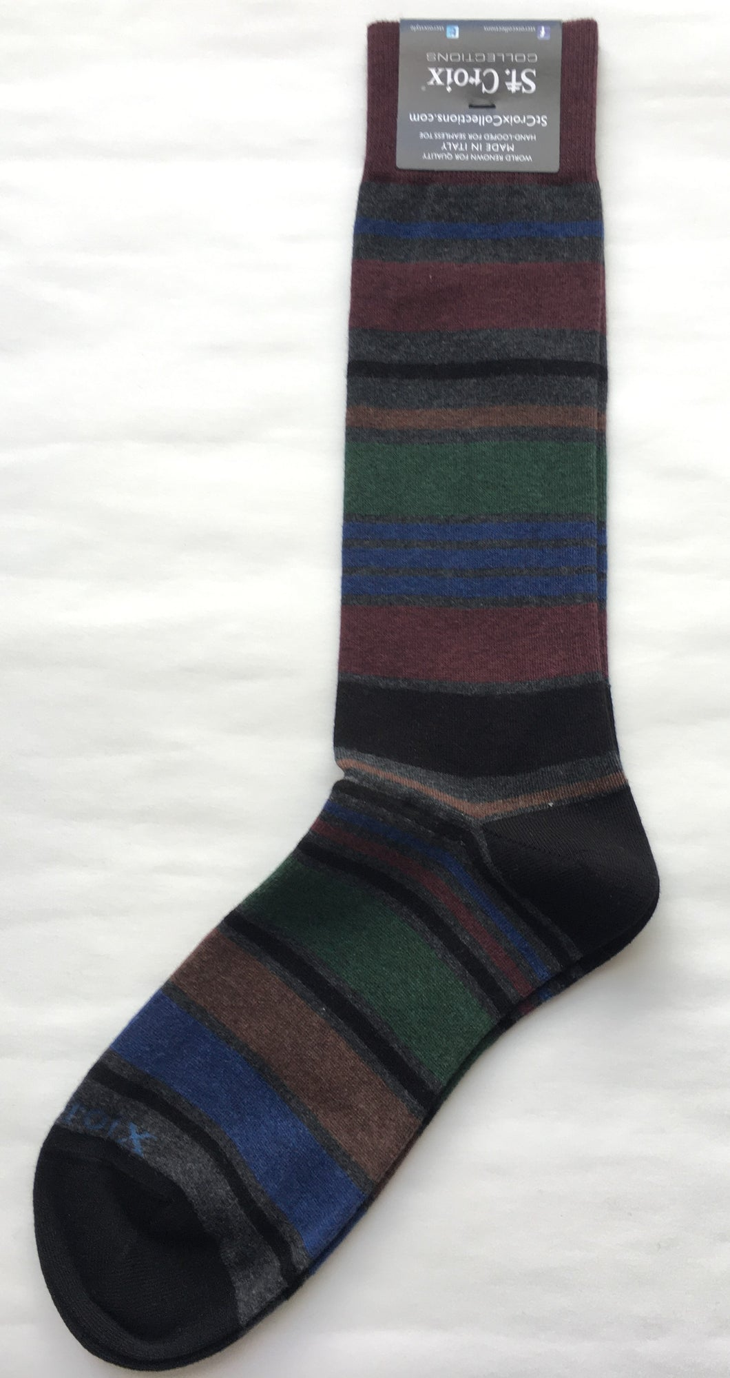 St. Croix Mutli-striped Socks | Charcoal