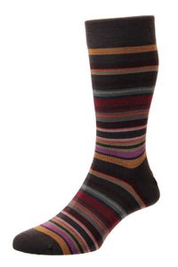 Pantherella All Over Stripe Sock - Chocolate