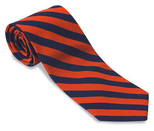R. Hanauer Navy/ Orange Bar Stripes Necktie