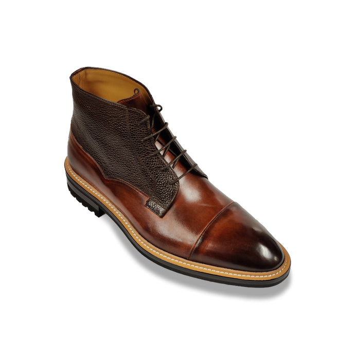 Di Bianco Burnished Cap Toe Boot - Tan