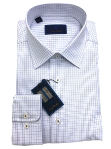 David Donahue Micro Plaid Dress Shirt Regular Fit | Blue/Purple