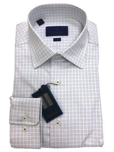 David Donahue Graph Check Dress Shirt Trim Fit | Blue/Green