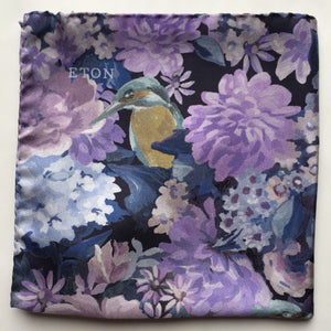Eton Navy & Purple Floral Pocket Square