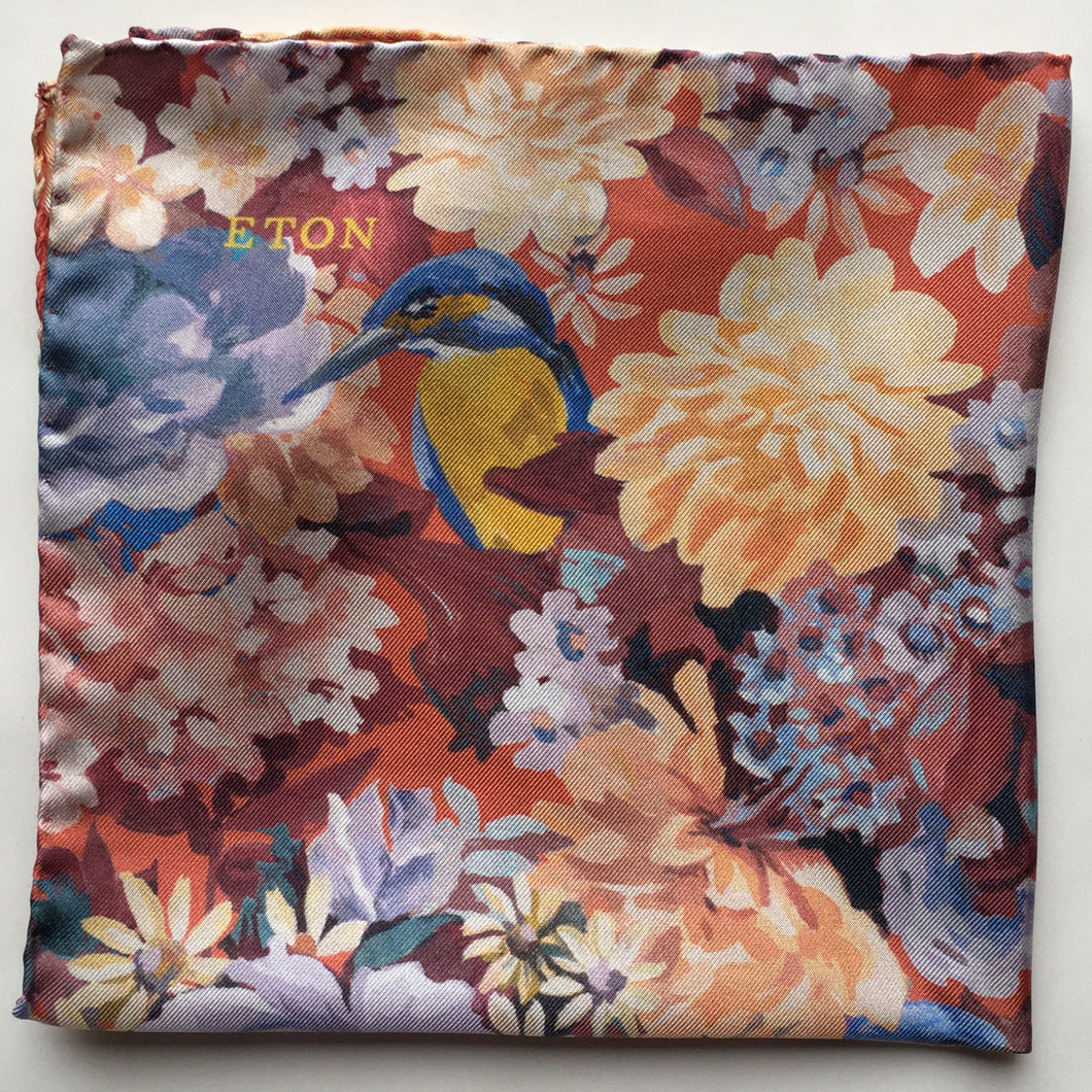 Eton Orange Floral Pocket Square