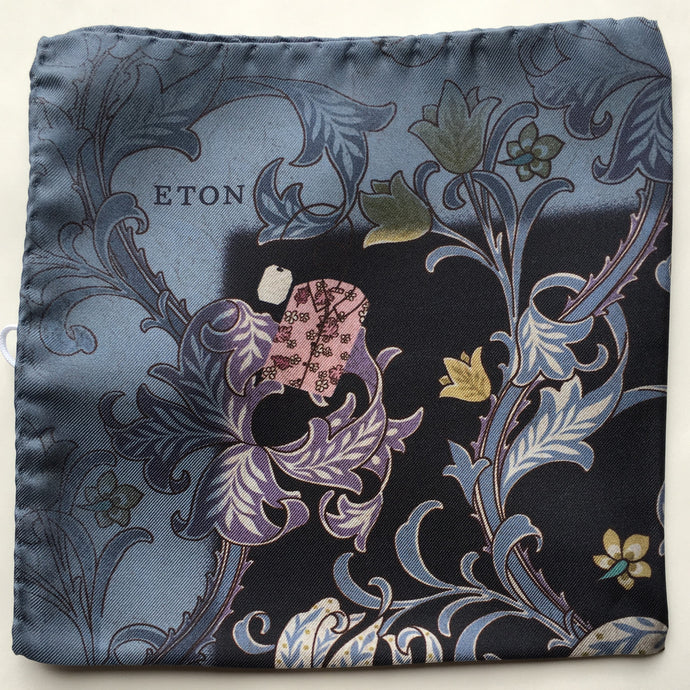 Eton Navy Floral Pocket Square